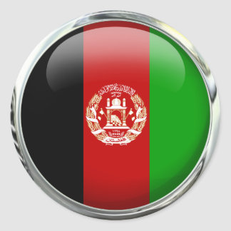 Afghanistan Flag Glass Ball Classic Round Sticker