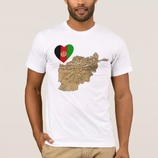 Afghanistan Flag Heart and Map T-Shirt