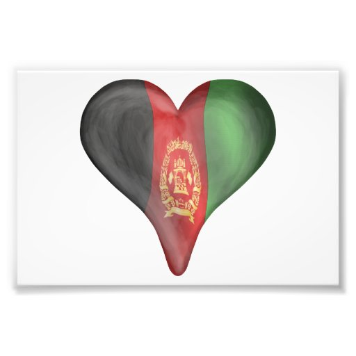 Afghanistan Flag In A Heart Photo Print
