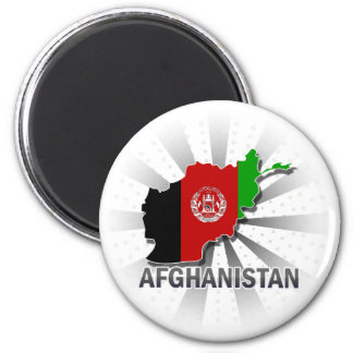 Afghanistan Flag Map 2.0 2 Inch Round Magnet