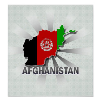 Afghanistan Flag Map 2.0 Posters