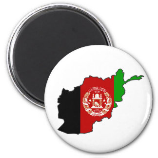 Afghanistan Flag Map 2 Inch Round Magnet