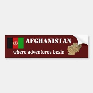 Afghanistan Flag + Map Bumper Sticker