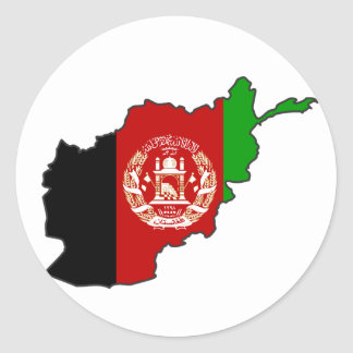 Afghanistan Flag Map Classic Round Sticker
