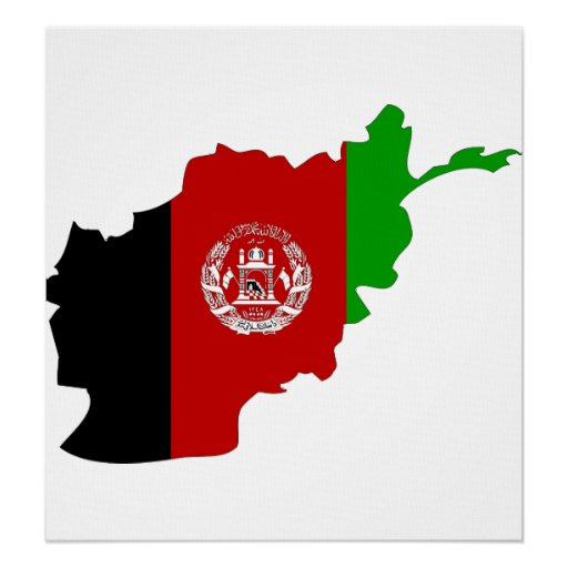 Afghanistan Flag Map full size Poster