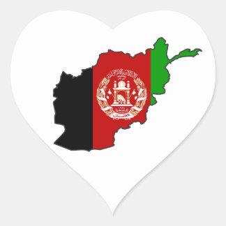 Afghanistan Flag Map Heart Sticker