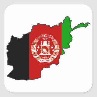 Afghanistan Flag Map Square Sticker