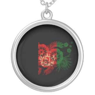Afghanistan Flag Round Pendant Necklace