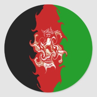Afghanistan Gnarly Flag Classic Round Sticker