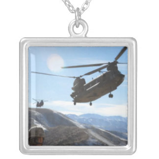 AFGHANISTAN HELICOPTER SILVER PLATED NECKLACE
