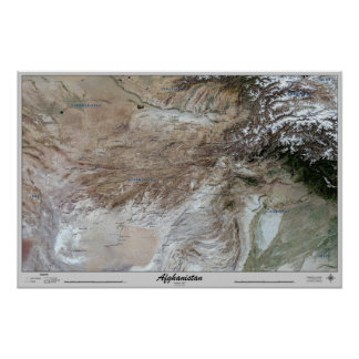 Afghanistan Satellite Poster Map Print Photo