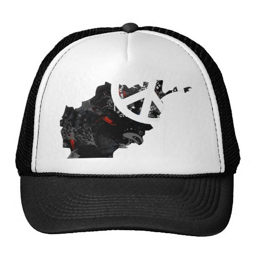 Afghanistan Trendy Peace Sign with Afghan map Trucker Hat