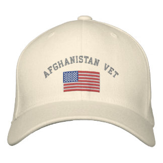 Afghanistan Vet with American Flag Embroidered Baseball Hat
