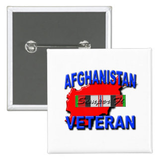 Afghanistan War Veteran Service Ribbon 2 Inch Square Button