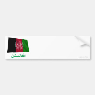 Afghanistan Waving Flag with Name in Pashto Bumper Sticker