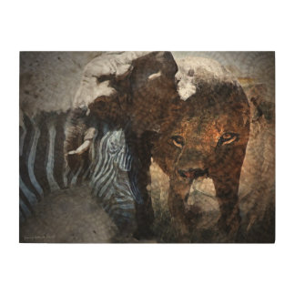Afican Wildlife Collage Wood Wall Art