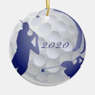 Afición anticuada del deporte del golf del adorno navideño redondo de cerámica