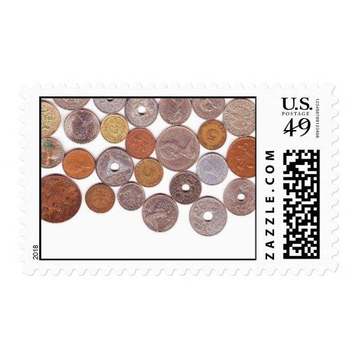 Afición de la recogida de moneda timbre postal
