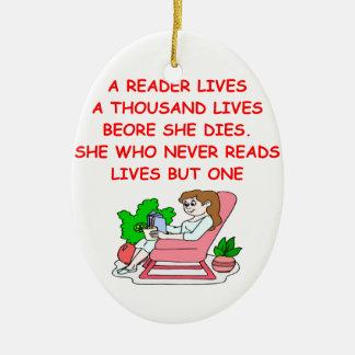 aficionado a los libros adorno navideño ovalado de cerámica