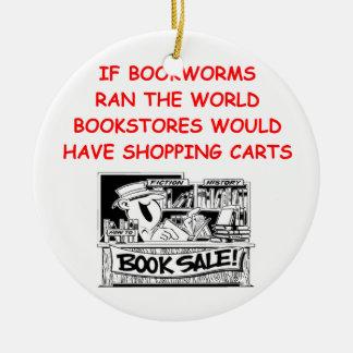 aficionado a los libros adorno navideño redondo de cerámica