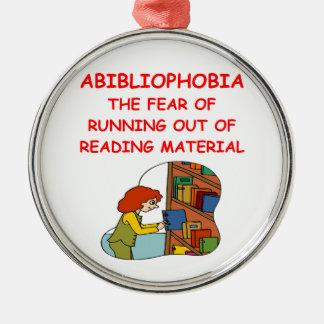 aficionado a los libros adorno navideño redondo de metal