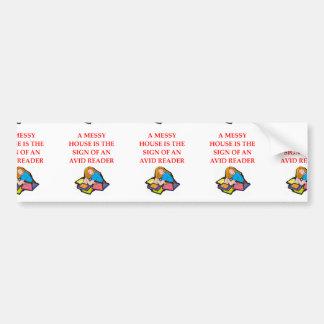aficionado a los libros pegatina de parachoque