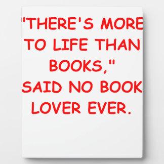 aficionado a los libros placa