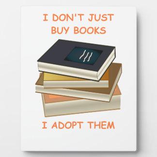 aficionado a los libros placa de plastico