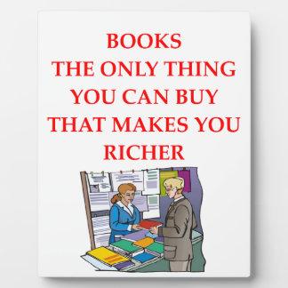 aficionado a los libros placas con foto