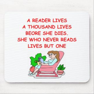 aficionado a los libros tapete de raton