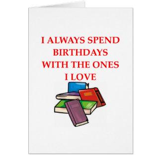 aficionado a los libros tarjeta de felicitación