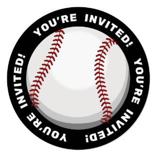 """Aficionado al béisbol invitación 5.25"""" x 5.25"""""""