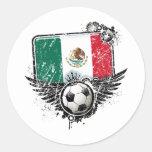 Aficionado al fútbol México Pegatina Redonda
