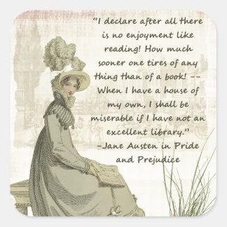Aficionados a los libros de Jane Austen Pegatina Cuadrada