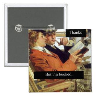 Aficionados a los libros retros pin cuadrada 5 cm