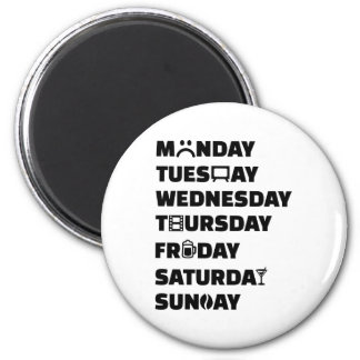Aficiones del planificador de la semana para hacer imán