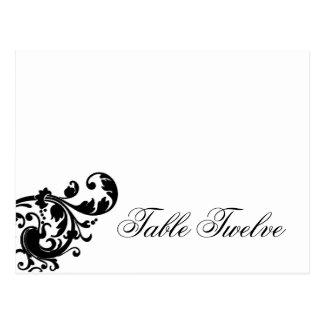 Afiligranado floral blanco del lugar del negro pro tarjeta postal