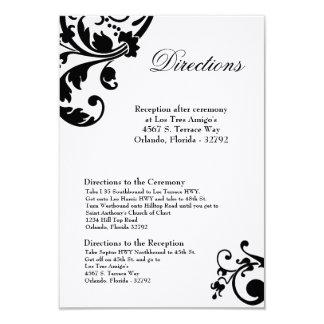 """afiligranado floral blanco del negro de la tarjeta invitación 3.5"""" x 5"""""""
