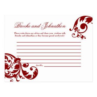 Afiligranado floral programable del rojo carmesí d tarjetas postales