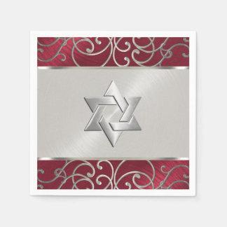 Afiligranado rojo de Mitzvah del palo y de plata Servilletas De Papel