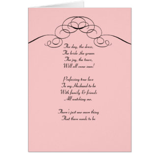 Afiligranado rosado sea mi tarjeta del bridemaid