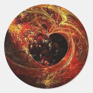 a'Fire del corazón Pegatina Redonda