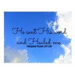 Afirmación curativa cristiana del salmo él envió e tarjeta postal
