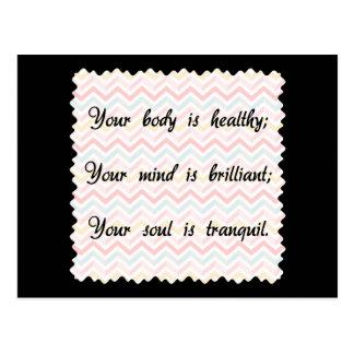 Afirmación del alma de la mente del cuerpo tarjetas postales