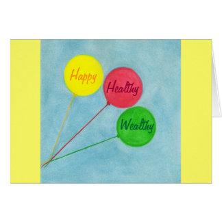 Afirmación rica sana feliz del globo tarjeta de felicitación
