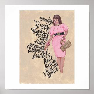 Afirmaciones para la señora en rosa póster