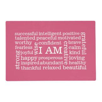 Afirmaciones positivas para el éxito y la salud tapete individual