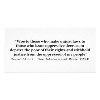 Aflicción a los que hacen el 10 1 injusto de Isaía Tarjeta Personal
