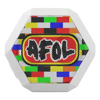 AFOL with colourful brick blackground White Bluetooth Speaker
