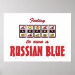 Afortunado a propio un diseño azul ruso del gato d poster